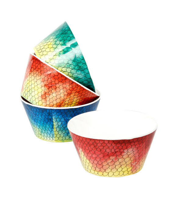 Swimmingly Fish Cereal Bowls-Set of 4 in Assorted Colors
