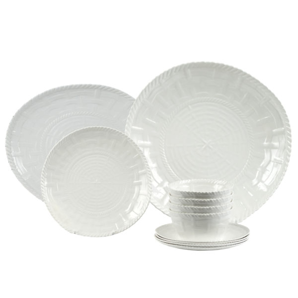 Woven Dinnerware-Set of 4 with Shallow Bowl and Platter-WH