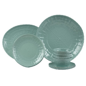 Woven Dinnerware-Set of 4 with Shallow Bowl and Platter-TQ