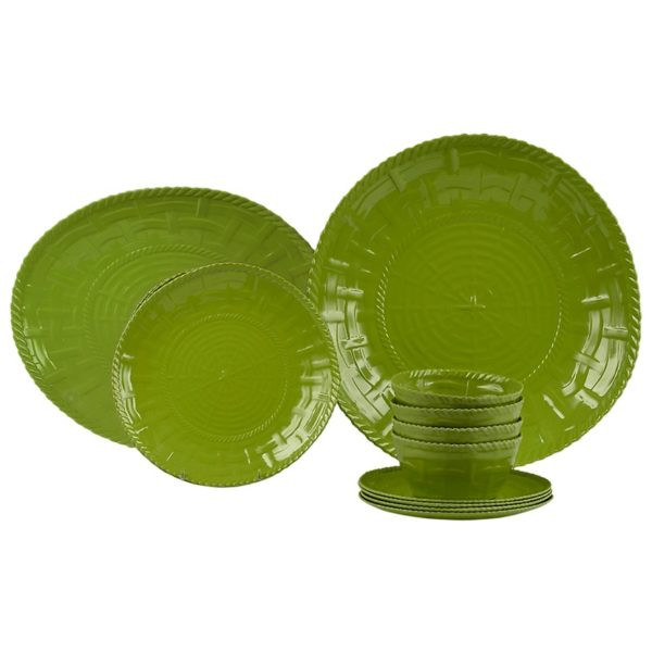 Woven Dinnerware-Set of 4 with Shallow Bowl and Platter-LM